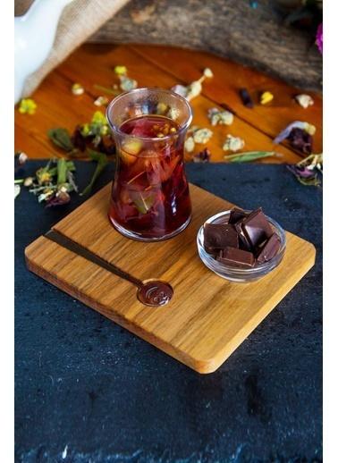 Joy Kitchen  Heybeli Ahşap Çay Sunumu (4 Parça) Renkli
